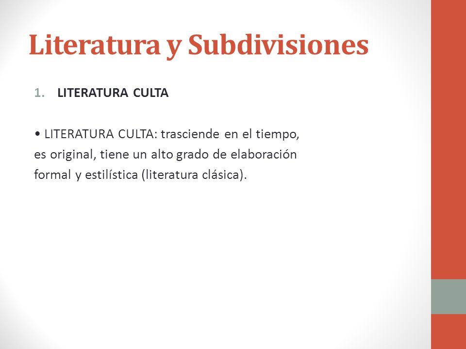 Literatura y Subdivisiones