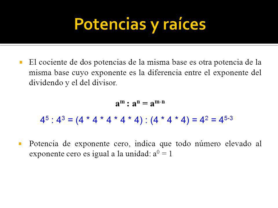 Potencias y raíces am : an = am-n