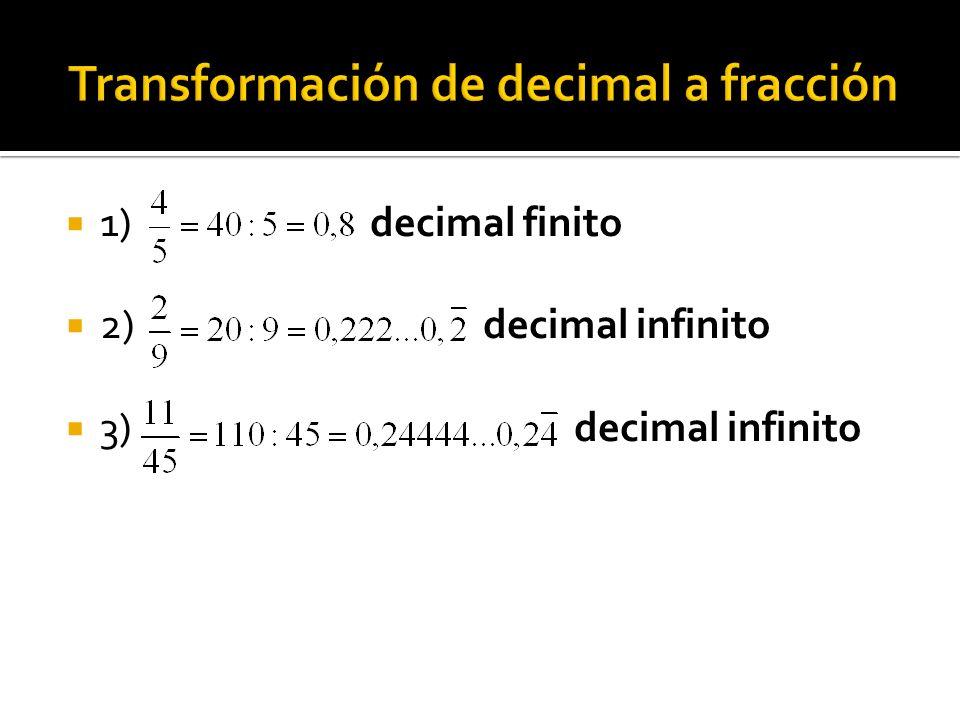 Transformación de decimal a fracción