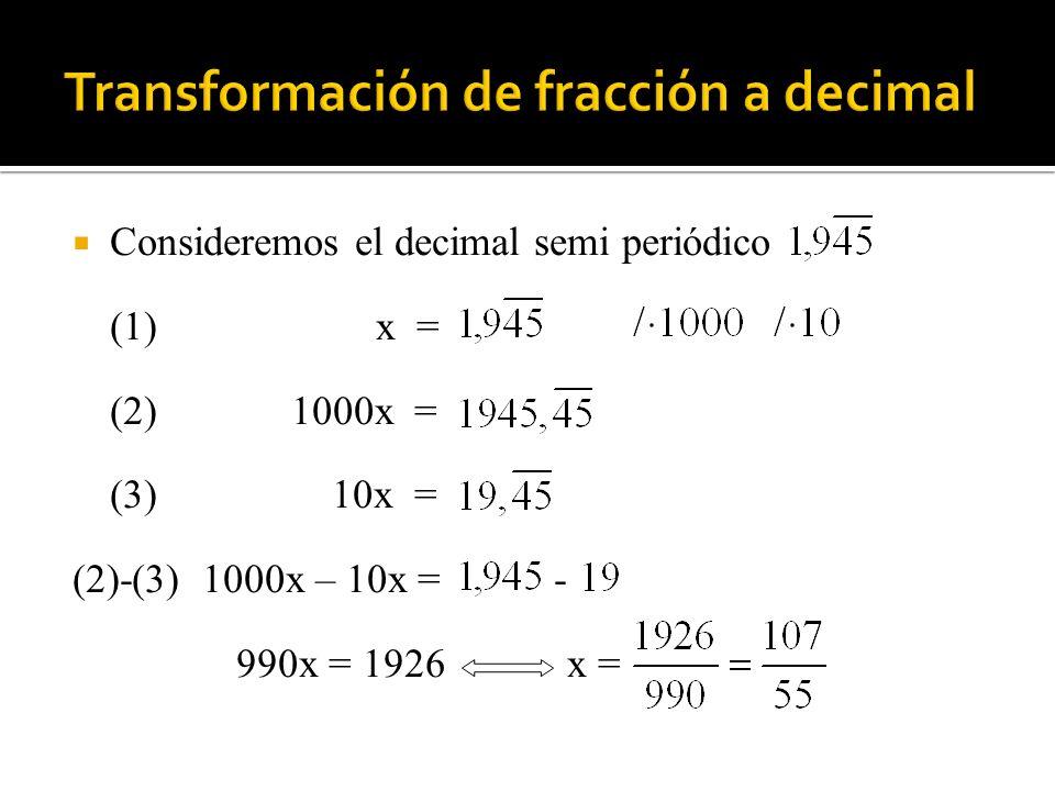 Transformación de fracción a decimal