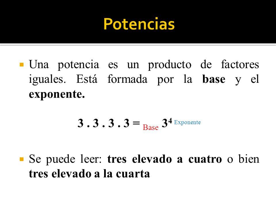 Potencias Una potencia es un producto de factores iguales. Está formada por la base y el exponente.