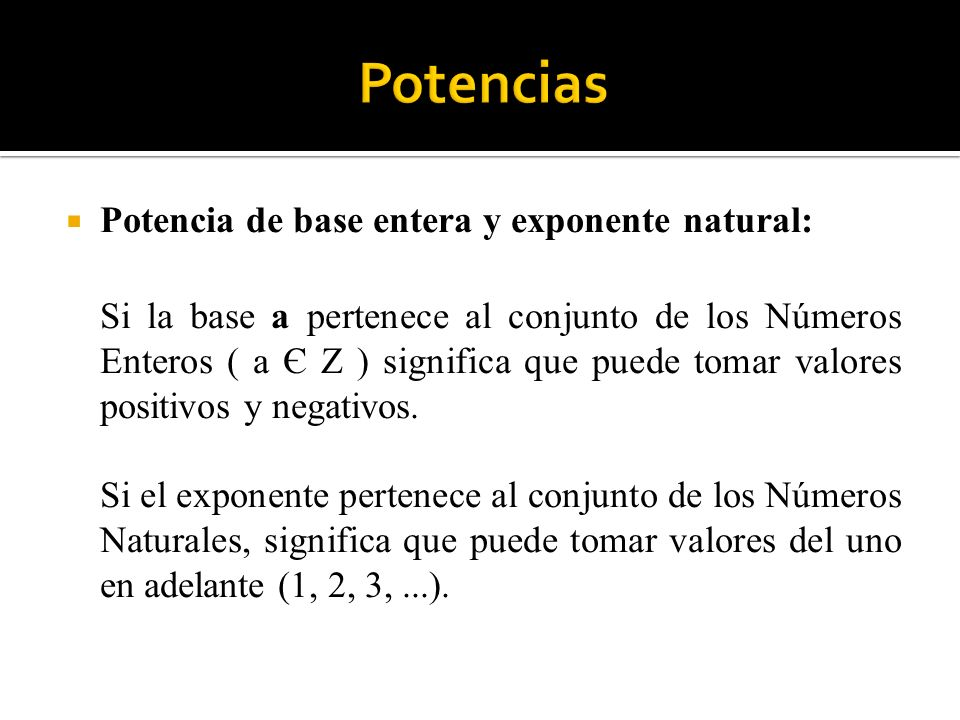 Potencias Potencia de base entera y exponente natural: