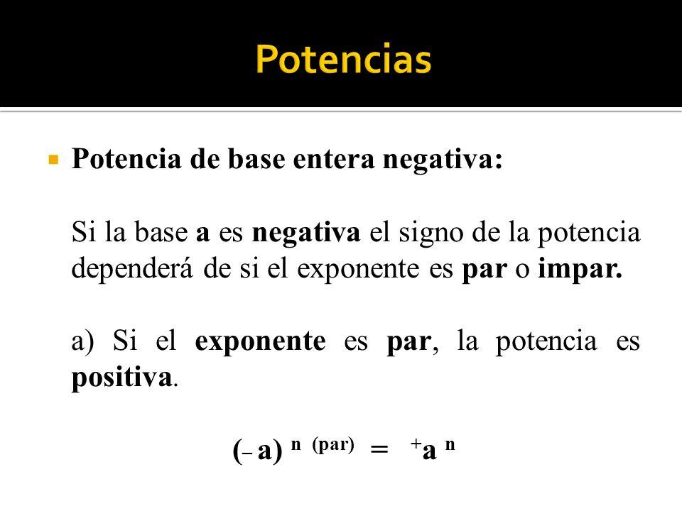Potencias Potencia de base entera negativa:
