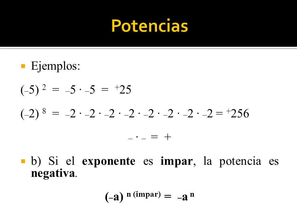 Potencias Ejemplos: (_5) 2 = _5 · _5 = +25