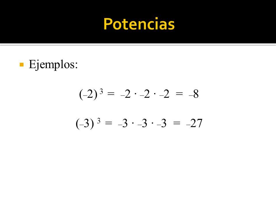 Potencias Ejemplos: (_2) 3 = _2 · _2 · _2 = _8