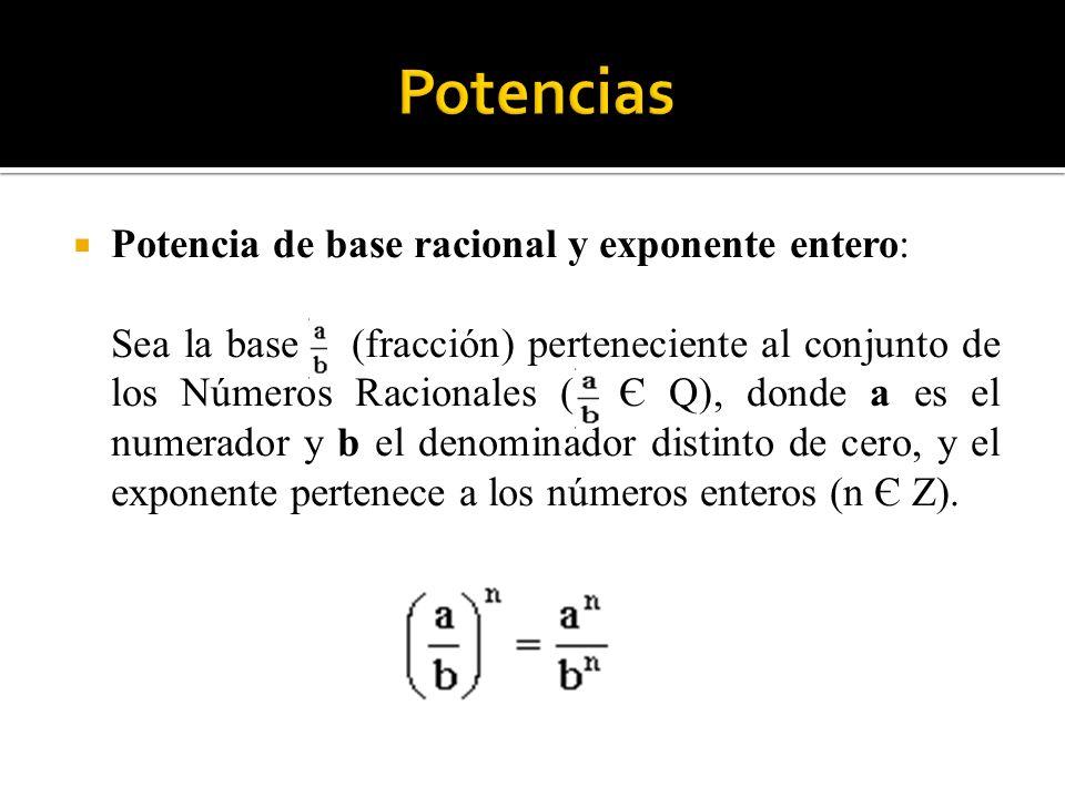 Potencias Potencia de base racional y exponente entero: