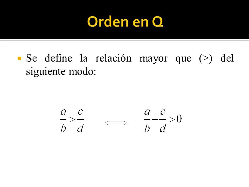 Orden en Q Se define la relación mayor que (>) del siguiente modo: