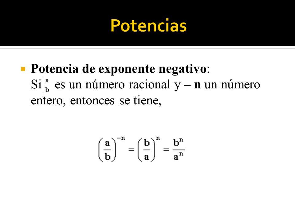 Potencias Potencia de exponente negativo: