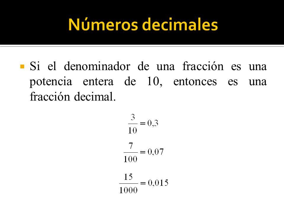 Números decimales Si el denominador de una fracción es una potencia entera de 10, entonces es una fracción decimal.