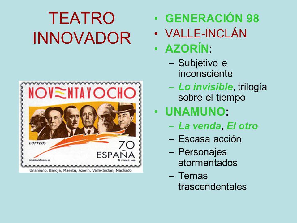TEATRO INNOVADOR GENERACIÓN 98 VALLE-INCLÁN AZORÍN: UNAMUNO: