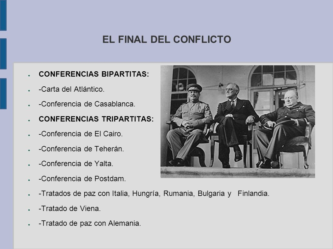 EL FINAL DEL CONFLICTO CONFERENCIAS BIPARTITAS: -Carta del Atlántico.