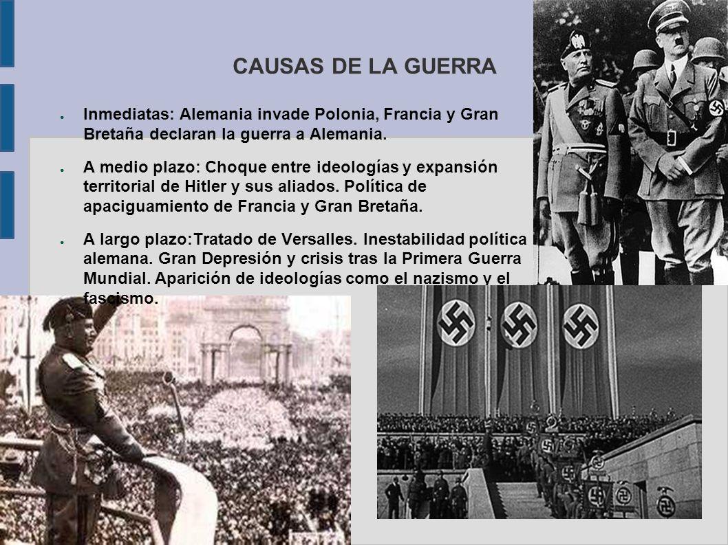 CAUSAS DE LA GUERRA Inmediatas: Alemania invade Polonia, Francia y Gran Bretaña declaran la guerra a Alemania.
