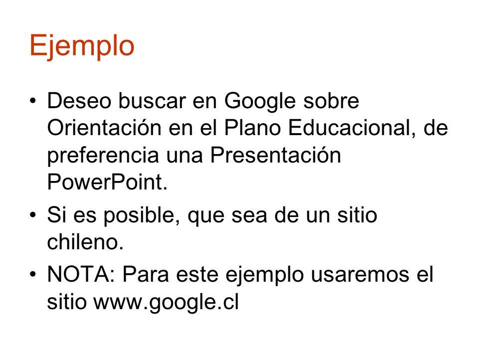 Ejemplo Deseo buscar en Google sobre Orientación en el Plano Educacional, de preferencia una Presentación PowerPoint.