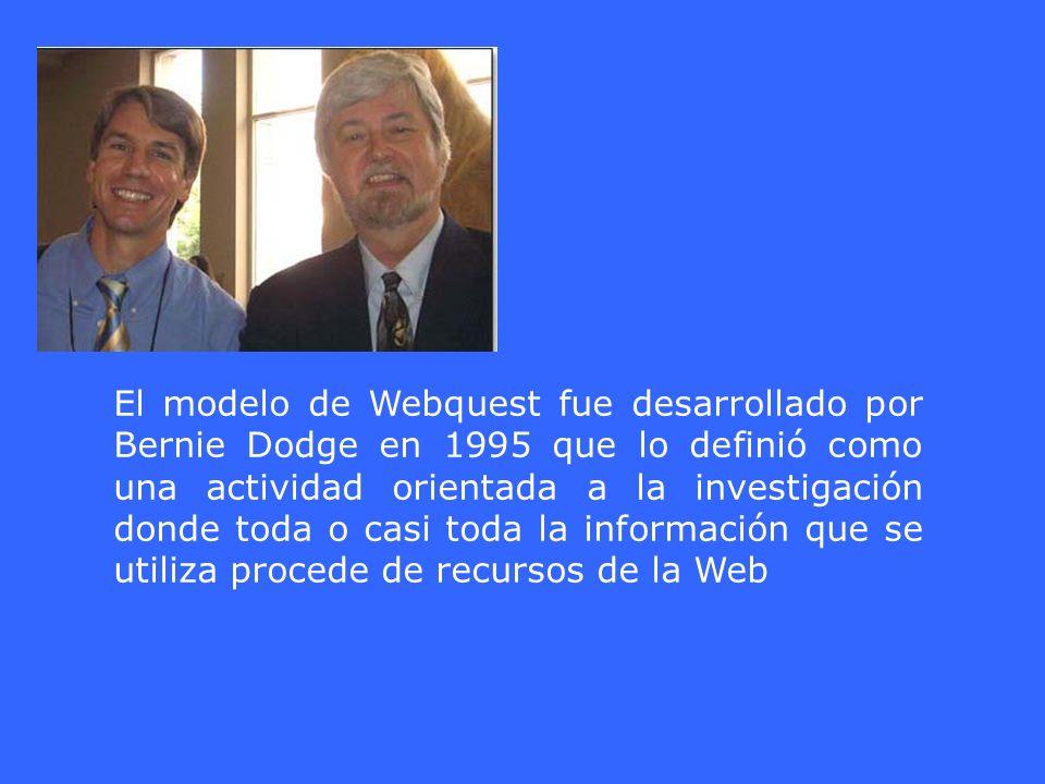El modelo de Webquest fue desarrollado por Bernie Dodge en 1995 que lo definió como una actividad orientada a la investigación donde toda o casi toda la información que se utiliza procede de recursos de la Web