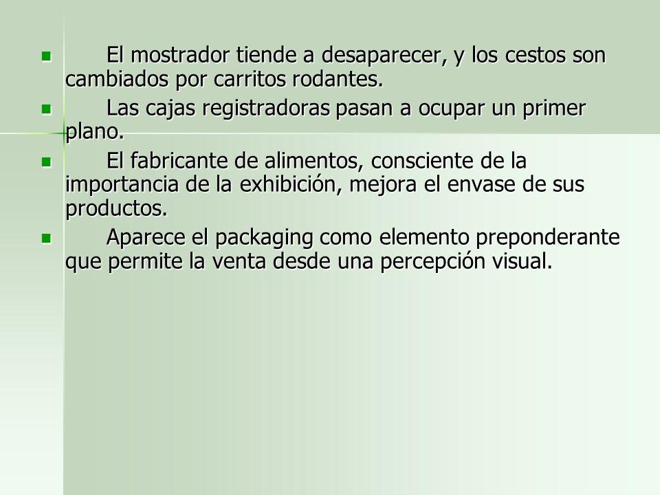 El mostrador tiende a desaparecer, y los cestos son cambiados por carritos rodantes.
