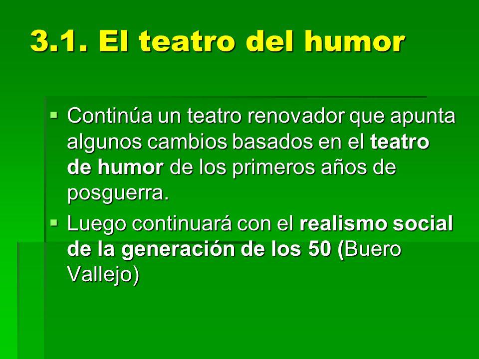 3.1. El teatro del humor Continúa un teatro renovador que apunta algunos cambios basados en el teatro de humor de los primeros años de posguerra.
