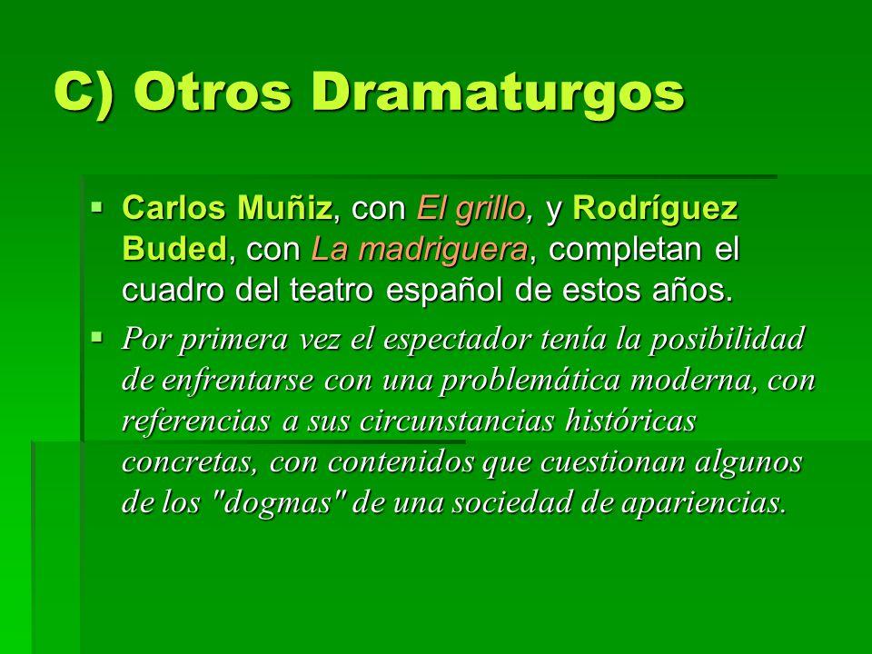 C) Otros Dramaturgos Carlos Muñiz, con El grillo, y Rodríguez Buded, con La madriguera, completan el cuadro del teatro español de estos años.