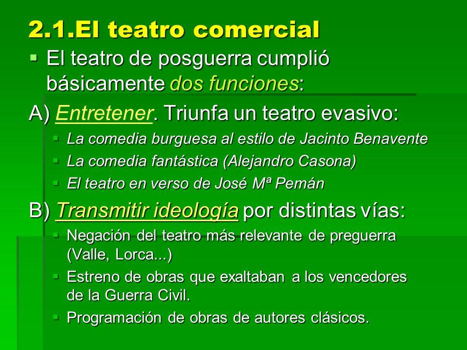 2.1.El teatro comercial El teatro de posguerra cumplió básicamente dos funciones: A) Entretener. Triunfa un teatro evasivo: