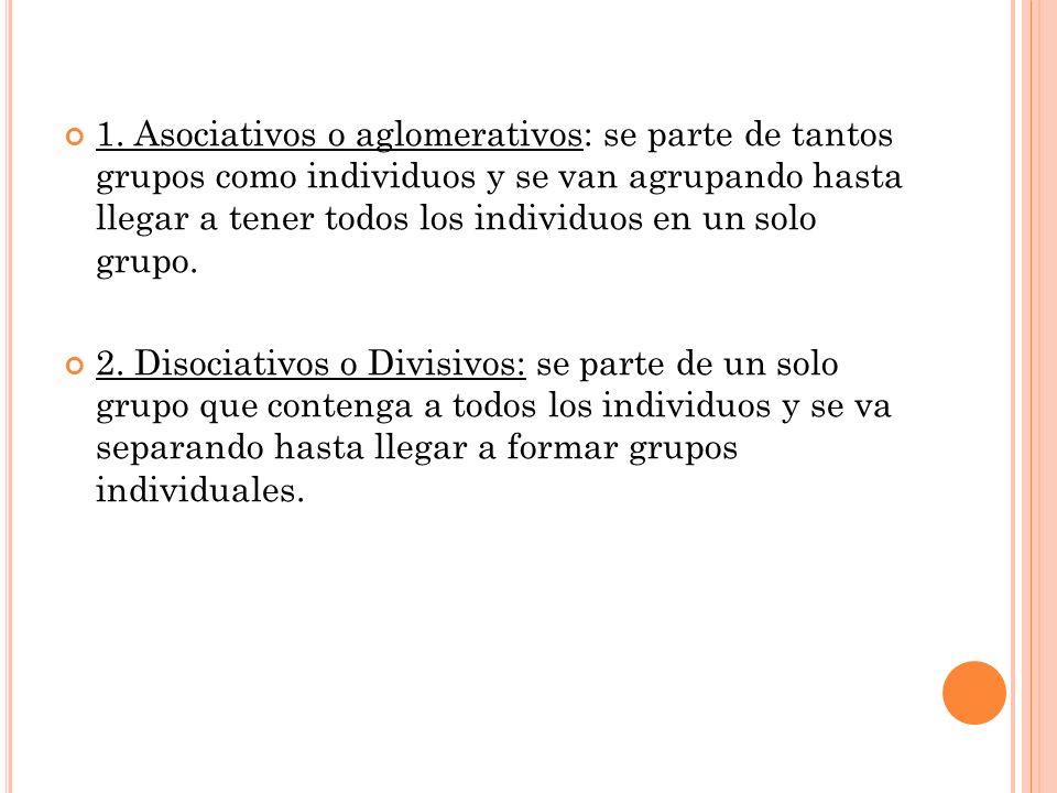 1. Asociativos o aglomerativos: se parte de tantos grupos como individuos y se van agrupando hasta llegar a tener todos los individuos en un solo grupo.