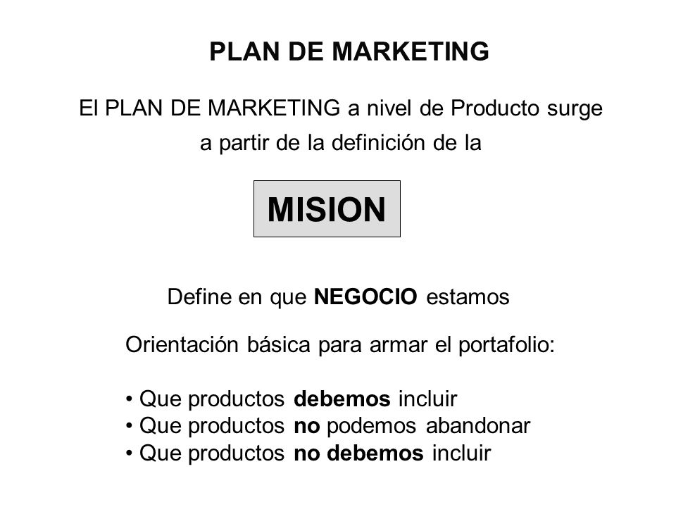MISION PLAN DE MARKETING
