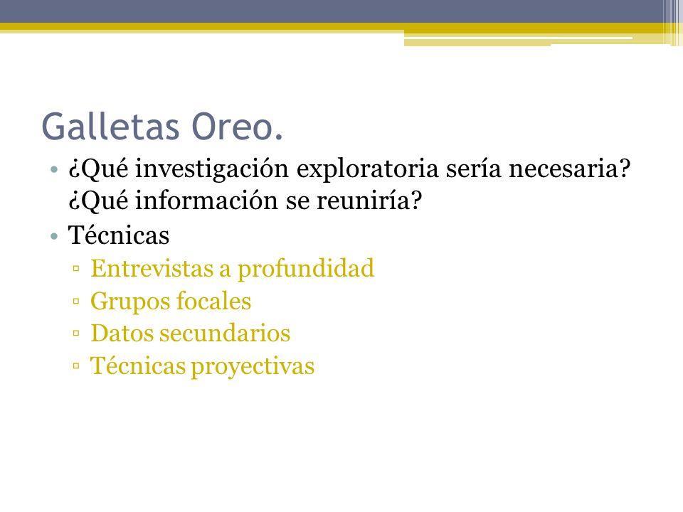Galletas Oreo. ¿Qué investigación exploratoria sería necesaria ¿Qué información se reuniría Técnicas.