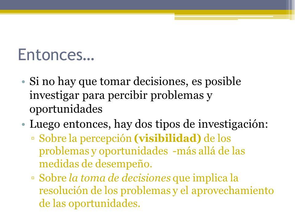 Entonces… Si no hay que tomar decisiones, es posible investigar para percibir problemas y oportunidades.
