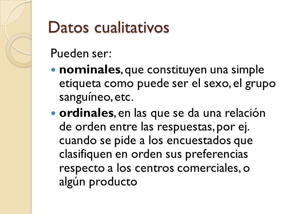 Datos cualitativos Pueden ser: