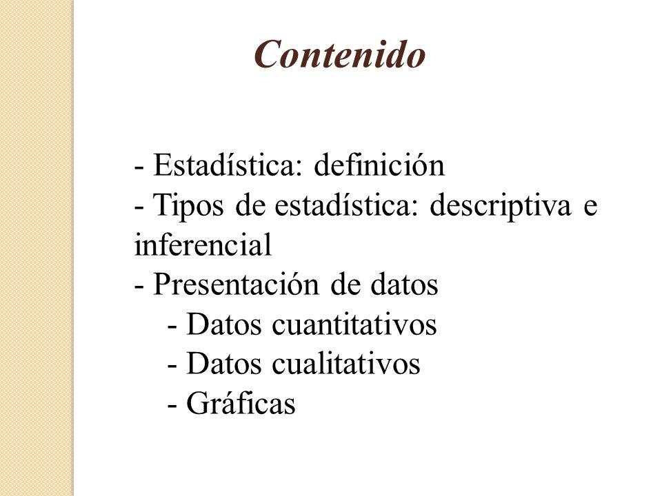 Contenido - Estadística: definición