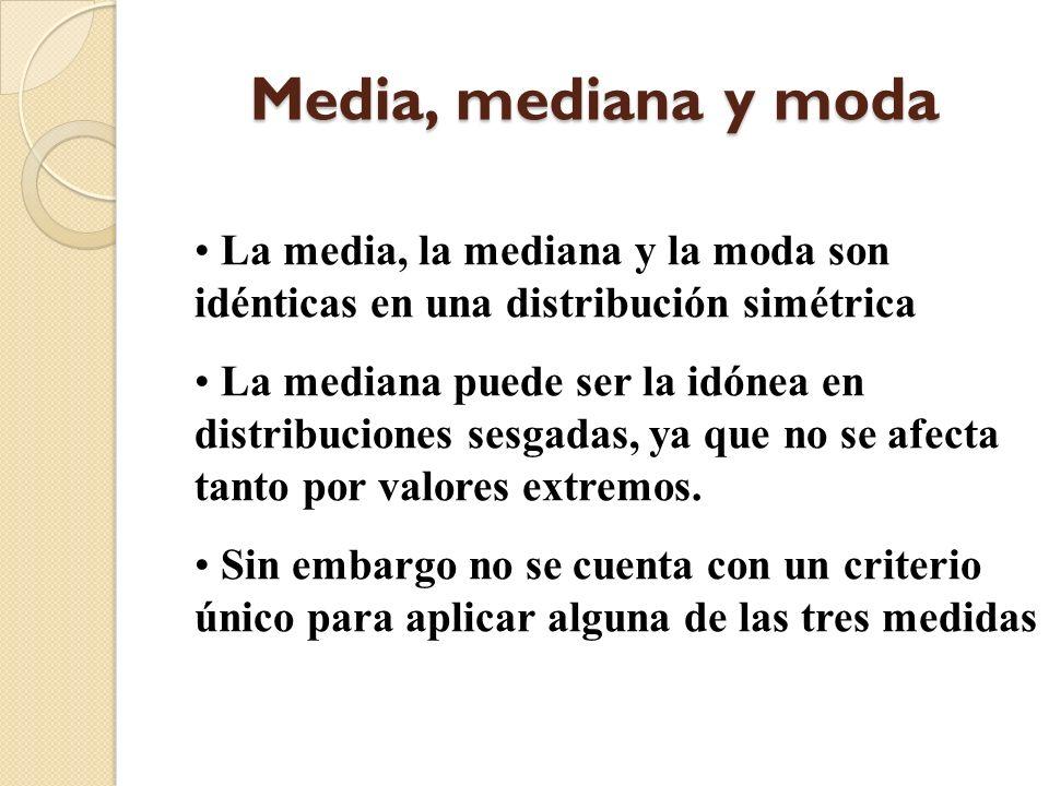 Media, mediana y moda La media, la mediana y la moda son idénticas en una distribución simétrica.
