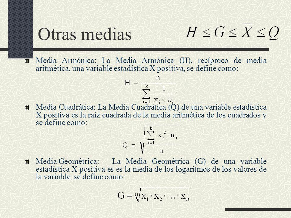 Otras medias Media Armónica: La Media Armónica (H), recíproco de media aritmética, una variable estadística X positiva, se define como: