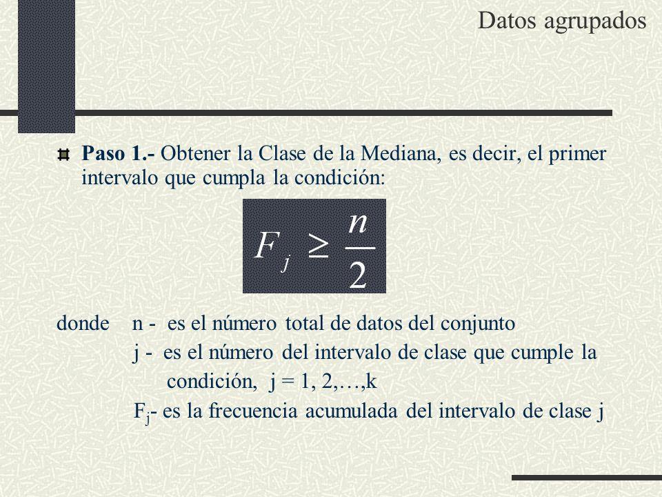 Datos agrupados Paso 1.- Obtener la Clase de la Mediana, es decir, el primer intervalo que cumpla la condición: