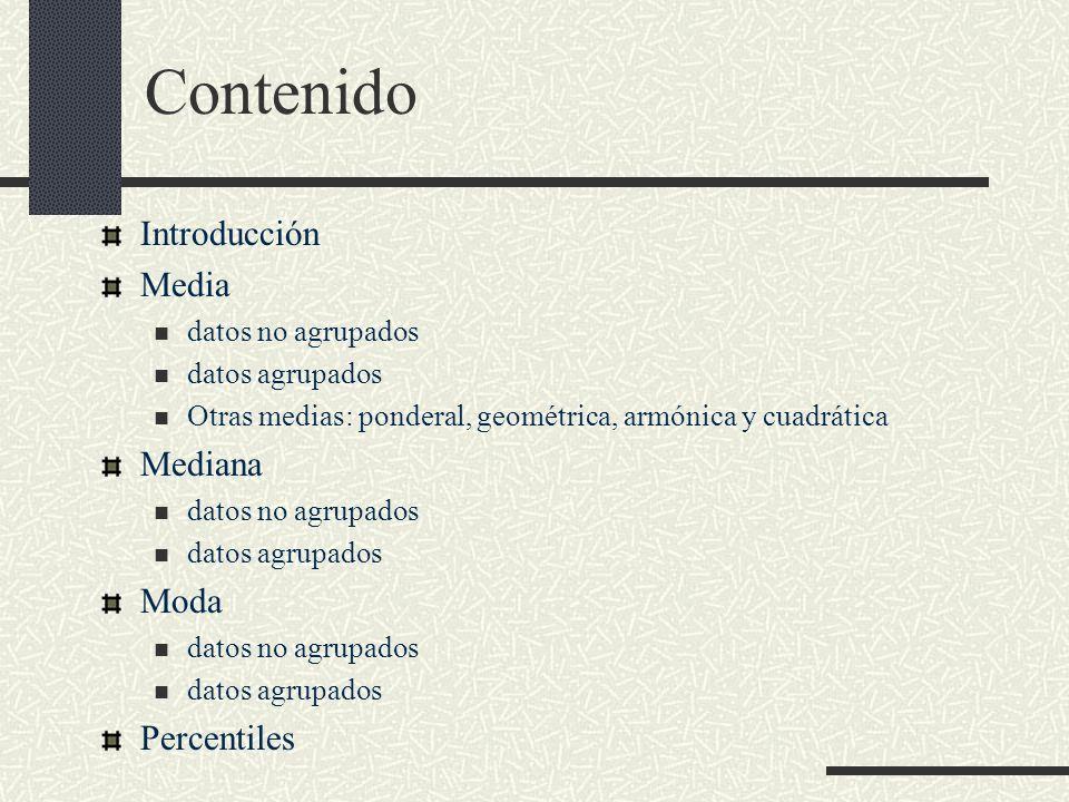 Contenido Introducción Media Mediana Moda Percentiles