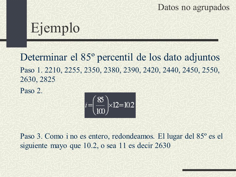 Ejemplo Determinar el 85º percentil de los dato adjuntos