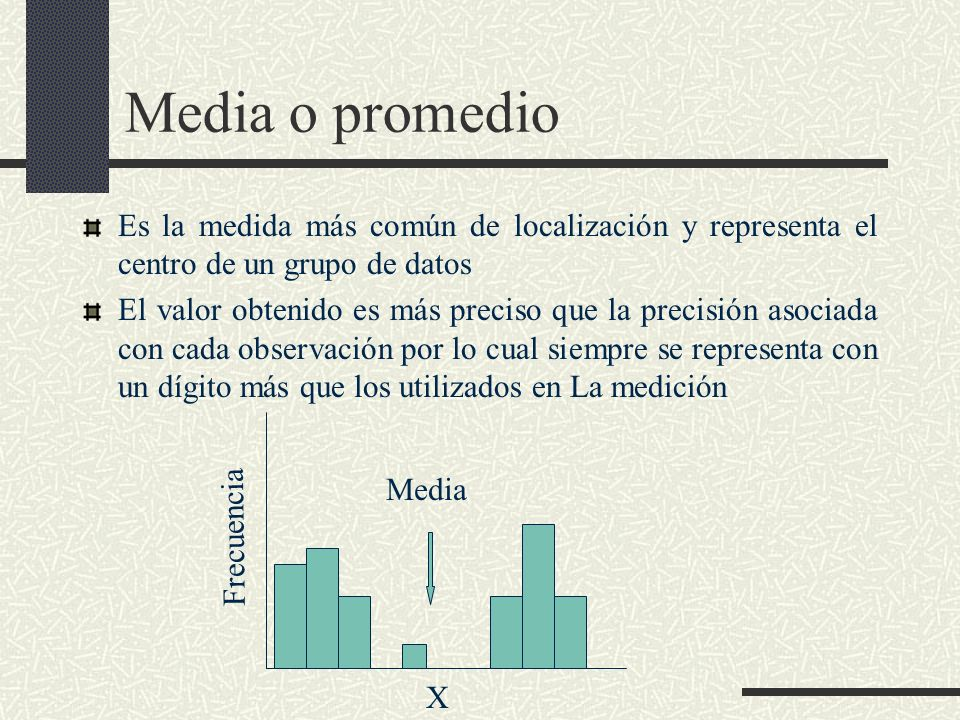 Media o promedio Es la medida más común de localización y representa el centro de un grupo de datos.