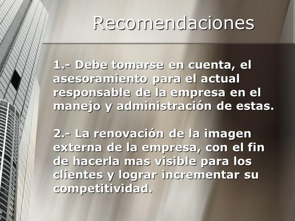 Recomendaciones 1.- Debe tomarse en cuenta, el asesoramiento para el actual responsable de la empresa en el manejo y administración de estas.