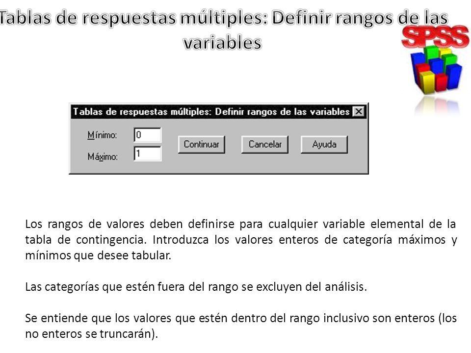 Tablas de respuestas múltiples: Definir rangos de las variables