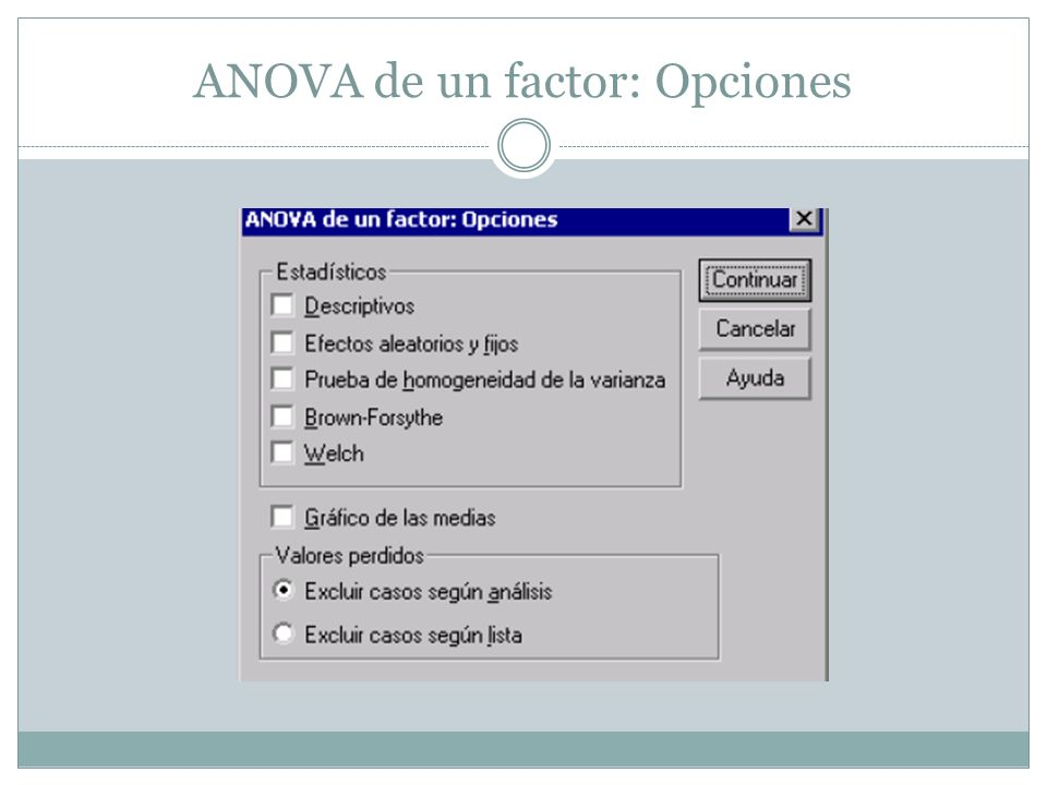 ANOVA de un factor: Opciones