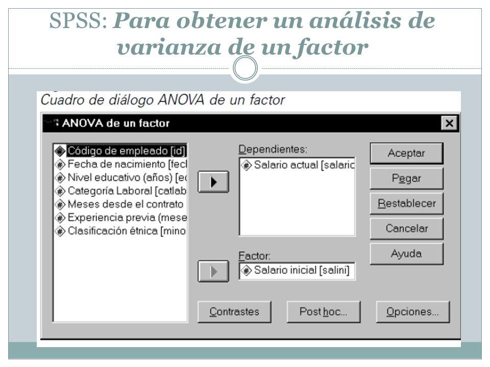 SPSS: Para obtener un análisis de varianza de un factor
