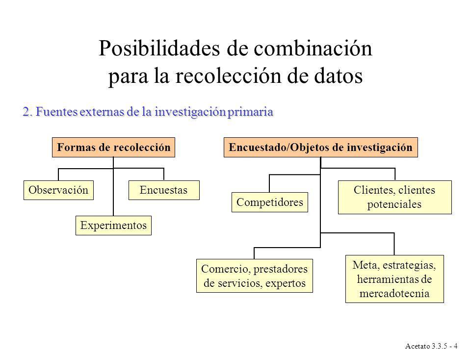 Posibilidades de combinación para la recolección de datos