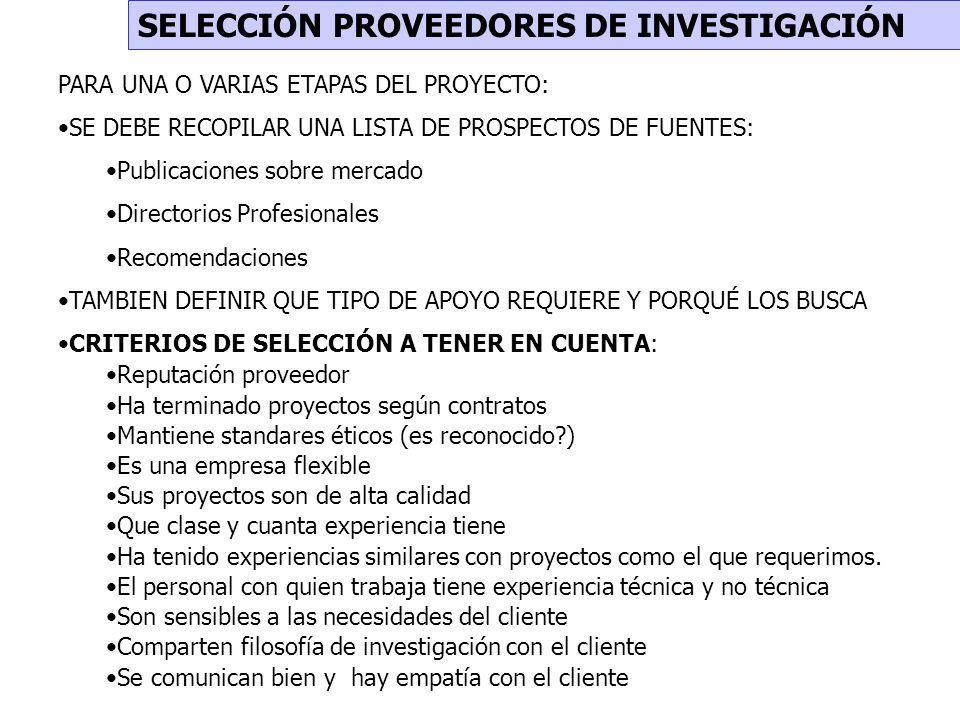 SELECCIÓN PROVEEDORES DE INVESTIGACIÓN