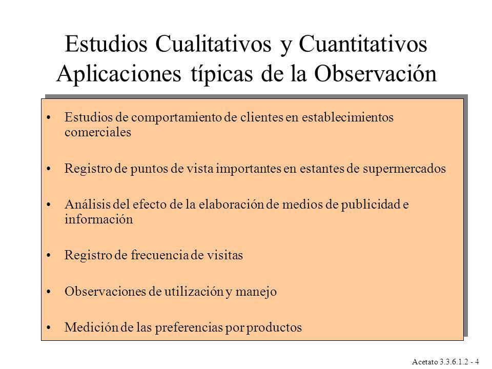 Estudios Cualitativos y Cuantitativos Aplicaciones típicas de la Observación