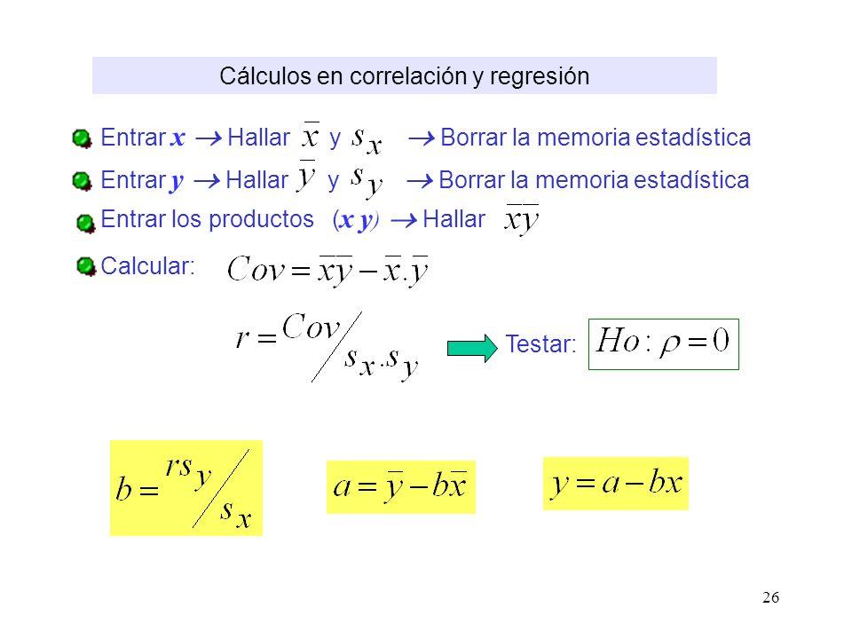 Cálculos en correlación y regresión