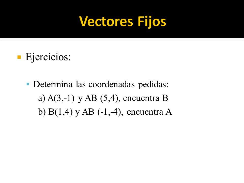 Vectores Fijos Ejercicios: Determina las coordenadas pedidas: