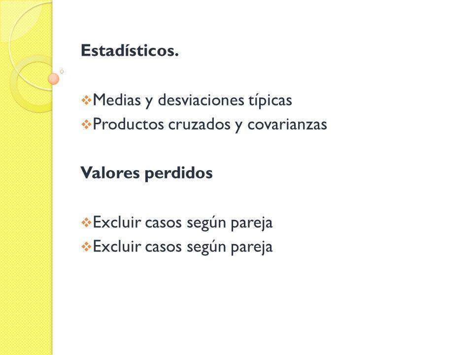 Estadísticos. Medias y desviaciones típicas. Productos cruzados y covarianzas.