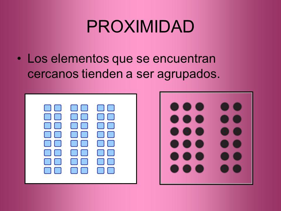 PROXIMIDAD Los elementos que se encuentran cercanos tienden a ser agrupados.