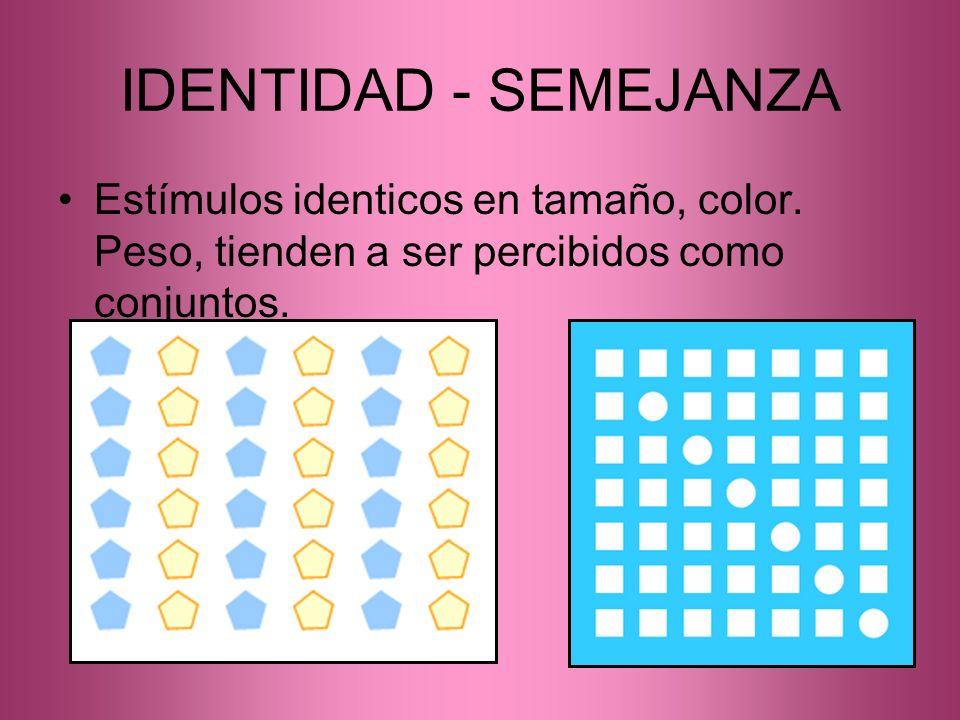 IDENTIDAD - SEMEJANZA Estímulos identicos en tamaño, color.