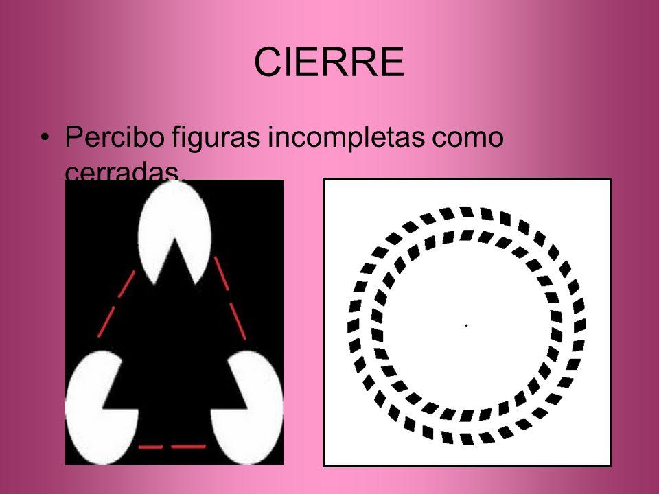 CIERRE Percibo figuras incompletas como cerradas.