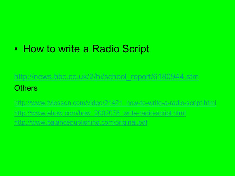 how to write radio script Podcast helpful hints & sample script planning topics to discuss freestyle recordings are most similar to live radio shows or television interviews freestyle is an ad lib when writing a freestyle script.