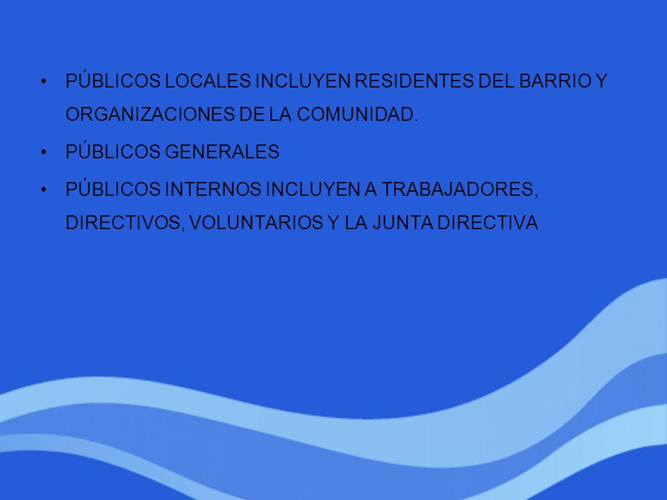 PÚBLICOS LOCALES INCLUYEN RESIDENTES DEL BARRIO Y ORGANIZACIONES DE LA COMUNIDAD.