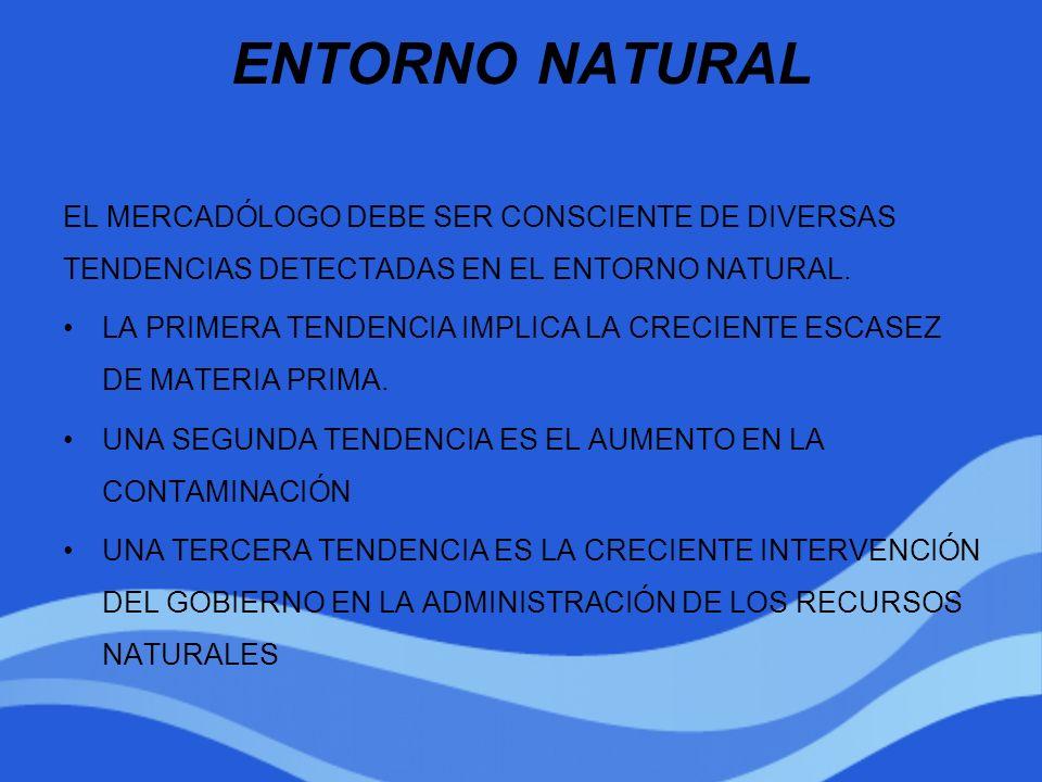 ENTORNO NATURAL EL MERCADÓLOGO DEBE SER CONSCIENTE DE DIVERSAS TENDENCIAS DETECTADAS EN EL ENTORNO NATURAL.